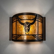Meyda Tiffany 20760 Steer Skull Antique Copper Wall Light Fixture