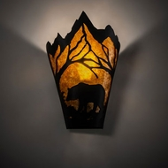 Meyda Tiffany 212504 Bear at Dawn Country Textured Black Wall Sconce Lighting