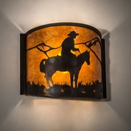 Meyda Tiffany 213955 Cowboy Antique Copper / Burnished Lamp Sconce