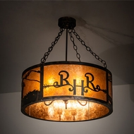 Meyda Tiffany 213957 Ridin Hy Personalized Antique Copper / Burnished Drum Pendant Lighting Fixture