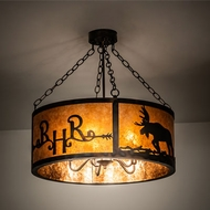 Meyda Tiffany 213958 Ridin Hy Personalized Antique Copper / Burnished Drum Hanging Pendant Lighting