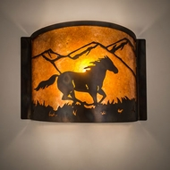 Meyda Tiffany 213986 Running Horse Antique Copper / Burnished Lighting Wall Sconce