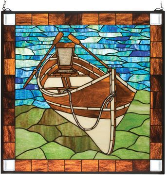 Meyda Tiffany 21440 Beached Guideboat Tiffany Stained Glass Window