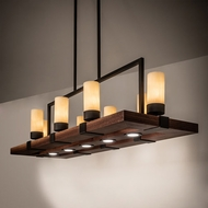 Meyda Tiffany 214544 Grand Terrace Modern Natural Wood / Oil Rubbed Bronze LED Island Lighting
