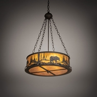 Meyda Tiffany 216212 Bear at Lake Rustic Coffee Bean Drum Hanging Pendant Light