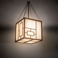 Meyda Tiffany 216753 Kofu Craftsman Brass Tint LED Pendant Hanging Light