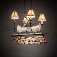 Meyda Tiffany 217594 Personalized Rustic Natural Wood / Tarnished Copper Mini Chandelier Lamp