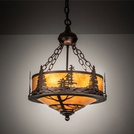Meyda Tiffany 217918 Tall Pines Country Mahogany Bronze Drum Ceiling Light Pendant