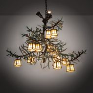 Meyda Tiffany 218222 Pine Branch Rustic Antique Copper Halogen Ceiling Chandelier
