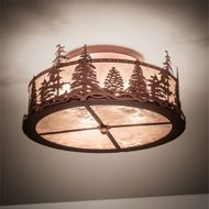 Meyda Tiffany 219183 Tall Pines Rustic Rust Flush Mount Lighting