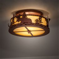 Meyda Tiffany 219213 Moose at Dusk Rustic Rust Overhead Lighting