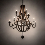 Meyda Tiffany 219497 Barrel Stave Traditional Natural Wood / Oil Rubbed Bronze Chandelier Lamp