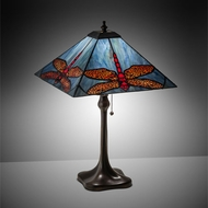 Meyda Tiffany 219890 Prairie Dragonfly Mahogany Bronze Side Table Lamp
