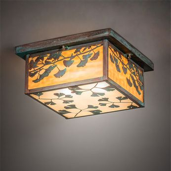 Meyda Tiffany 220113 Ginkgo Craftsman Verdigris / Copper Outdoor Flush Ceiling Light Fixture