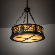 Meyda Tiffany 220141 Mountain Pine Mission Textured Black Drum Pendant Light Fixture