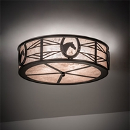 Meyda Tiffany 221494 Horseshoe & Horse Country Mahogany Bronze Flush Mount Ceiling Light Fixture