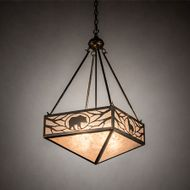 Meyda Tiffany 223450 Lone Bear & Wolf Country Antique Copper Drop Lighting Fixture
