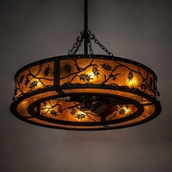 Meyda Tiffany 227403 Oak Leaf & Acorn Oil Rubbed Bronze Drum Hanging Pendant Lighting