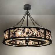 Meyda Tiffany 230595 Whispering Pines Wrought Iron LED Drum Hanging Light