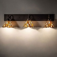Meyda Tiffany 231033 Delta Tiffany Mahogany Bronze 3-Light Bathroom Lighting Fixture