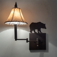 Meyda Tiffany 231175 Lone Bear Mahogany Bronze Swing Arm Wall Lamp