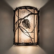 Meyda Tiffany 231469 Whispering Pines Mahogany Bronze Wall Sconce Lighting