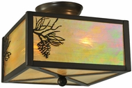 Meyda Tiffany 23211 Balsam Pine 8 Inch Tall Square Flush Mount Lighting