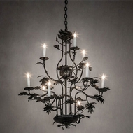 Meyda Tiffany 232381 Oak Leaf Black Hanging Chandelier