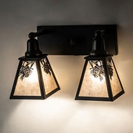 Meyda Tiffany 232545 Winter Pine Wrought Iron 2-Light Lighting For Bathroom