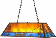 Meyda Tiffany 23752 Trout & Fisherman Antique Copper / Amber Mica Island Lighting