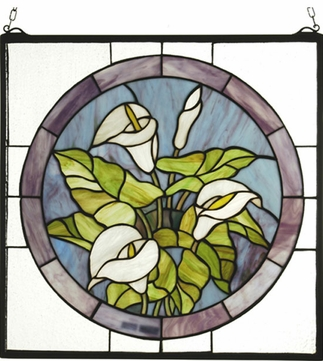 Meyda Tiffany 23866 Calla Lily Round Tiffany Hanging Stained Glass Panel