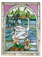 Meyda Tiffany 23868 Swans Stained Glass 22 Inch Tall Tiffany Wall D�cor