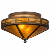 Meyda Tiffany 26390 Bungalow Valley View Antique Copper/Amber Mica Flush Lighting