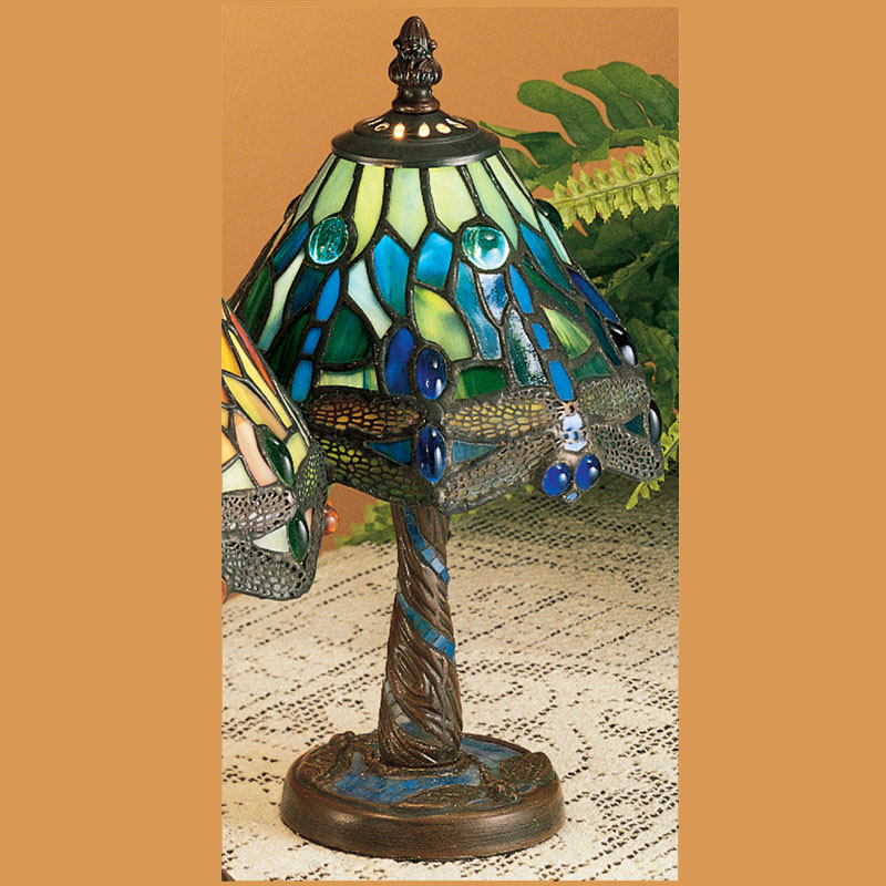 Meyda Tiffany 26617 Hanginghead Dragonfly 12 Inch Tall Art Gl Mini Table Lamp Lighting Blue Green