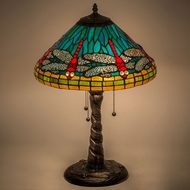 Meyda Tiffany 26682 Tiffany Dragonfly Tiffany Mahogany Bronze Table Top Lamp