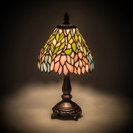 Meyda Tiffany 27294 Wisteria Tiffany Mahogany Bronze Table Top Lamp