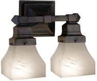 Meyda Tiffany 27622 Bungalow Mahogany Bronze 2 Lamp 13 Inch Wide Wall Light Sconce