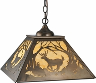 Meyda Tiffany 27902 Deer at Dawn Rustic Antique Copper Pendant Lamp