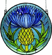 Meyda Tiffany 28436 Scottish Thistle Round Tiffany Hanging Stained Glass Window Art