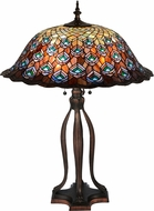 Meyda Tiffany 28504 Tiffany Peacock Feather Tiffany Green / Blue / Purple Table Lamp Lighting