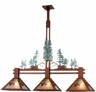 Meyda Tiffany 29365 Winter Pine Tall Pines Rust Silver Mica Kitchen Island Light