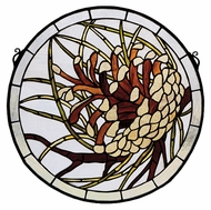 Meyda Tiffany 30448 Pinecone Medallion Tiffany Art Glass Wall D�cor - 17 Inch Diameter