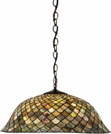 Meyda Tiffany 30455 Fishscale Tiffany Green / Blue Hanging Pendant Lighting