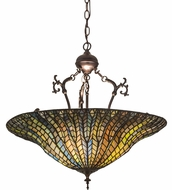 Meyda Tiffany 30993 Tiffany Lotus Leaf Tiffany Green / Blue Hanging Light Fixture