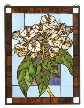 Meyda Tiffany 31268 Mountain Laurel Stained Glass Window Wall Décor - 26 Inches Tall