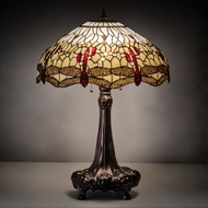 Meyda Tiffany 31664 Tiffany Hanginghead Dragonfly Tiffany Mahogany Bronze Side Table Lamp