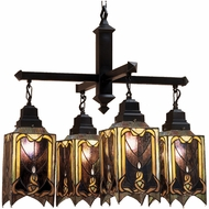 Meyda Tiffany 31756 Cottage Four Shade Tiffany Chandelier Ceiling Light