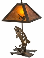 Meyda Tiffany 32532 Leaping Trout Rustic Antique Copper / Amber Mica Table Light