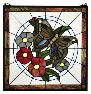 Meyda Tiffany 32672 Butterfly 20 Inch Tall Square Stained Glass Floral Wall Décor