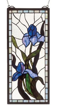 Meyda Tiffany 36073 Iris Stained Glass 20 Inch Tall Rectangular Stained Glass Wall Décor